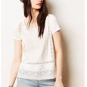 Anthropologie Meadow Rue White Lace Tee Shirt